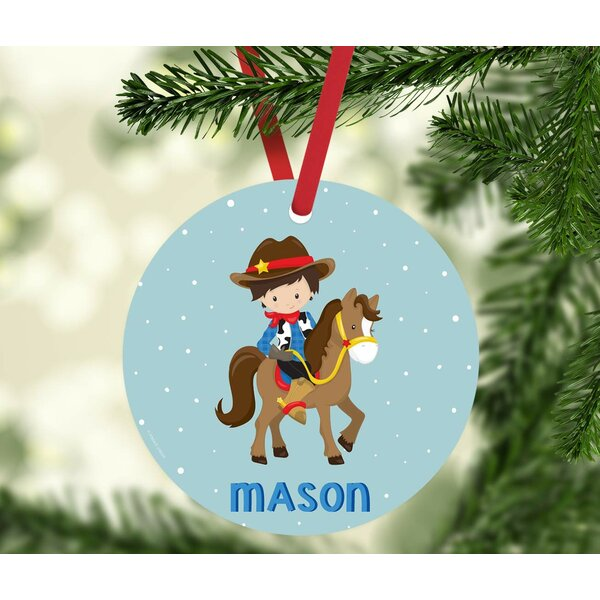 The Holiday Aisle Western Rodeo Black Haired Boy With Brown Horse And Hat Personalized Metal Christmas Ball Ornament Wayfair