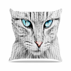 Suzanne Carter Cat Digital Outdoor Throw Pillow
