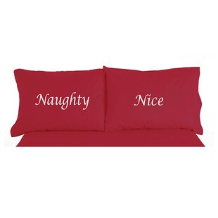 Micro Flannel® Naughty Nice Christmas Novelty Print Pillowcase Pair