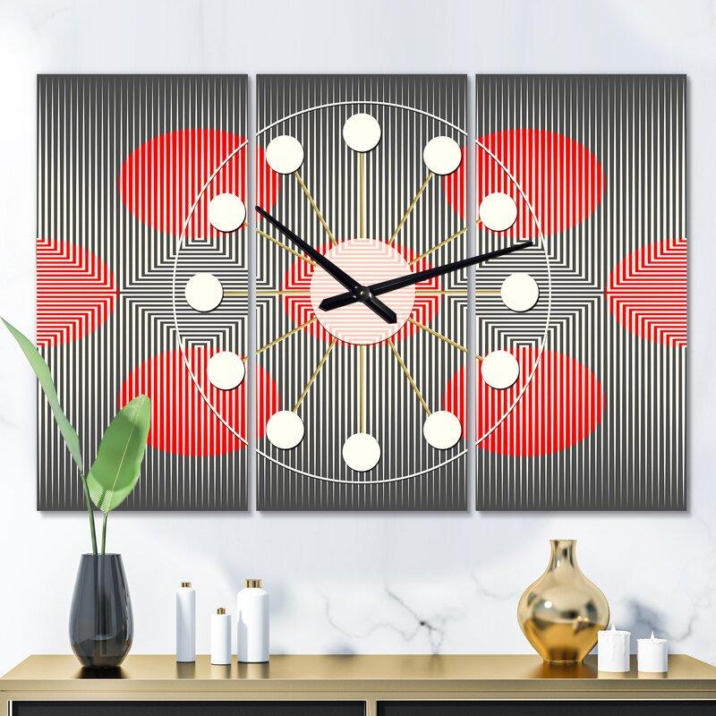 East Urban Home Oversized Modern Circle And Line Geometric Mid Century Wall Clock Wayfair
