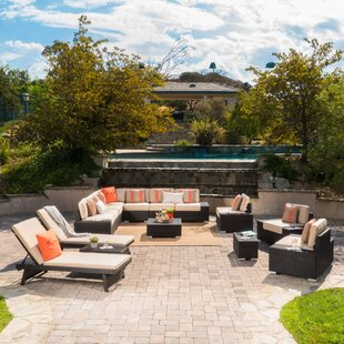 James 15 Piece Rattan Sectional Set with Cushions by Rosecliff Heights
