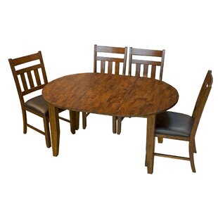 Caracara 5 Piece Drop Leaf Solid Wood Dining Set