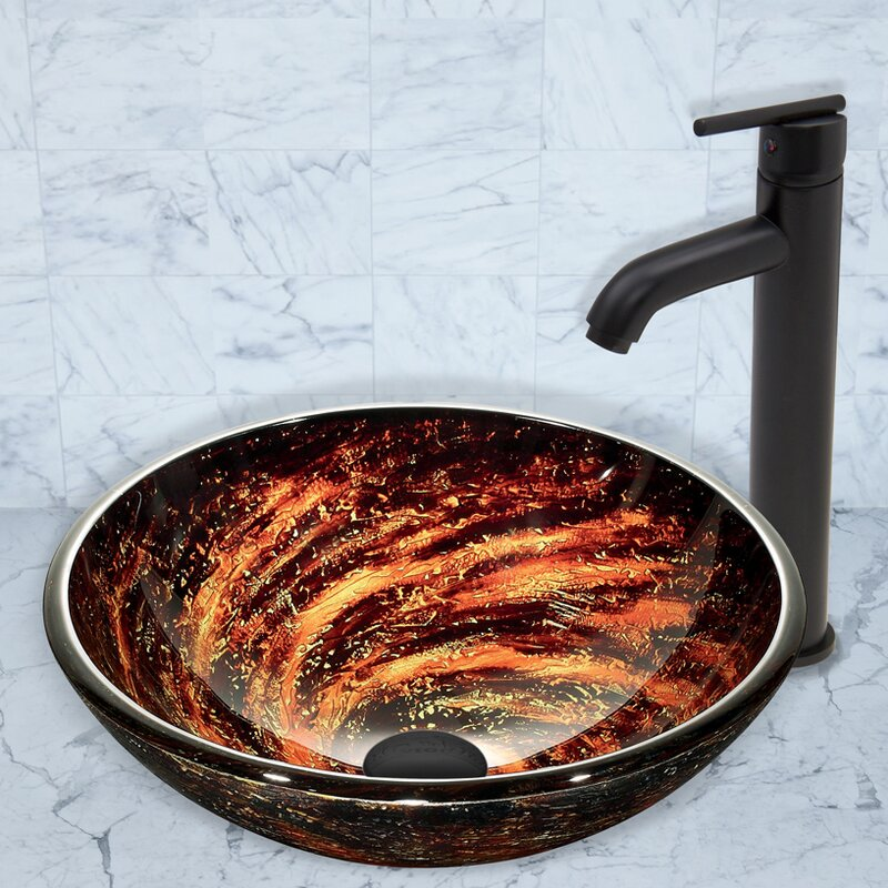 VIGO Northern Lights Glass Circular Vessel Bathroom Sink with Faucet ...
