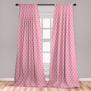 Ambesonne Quatrefoil Curtains, Old Architectural Mosaic Pattern White  Ornate Curves Entwined On Pink Backdrop, Window Treatments 2 Panel Set For  ...