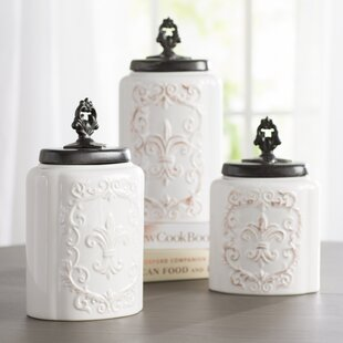 Fleur-de-lis 3 Piece Kitchen Canister Set