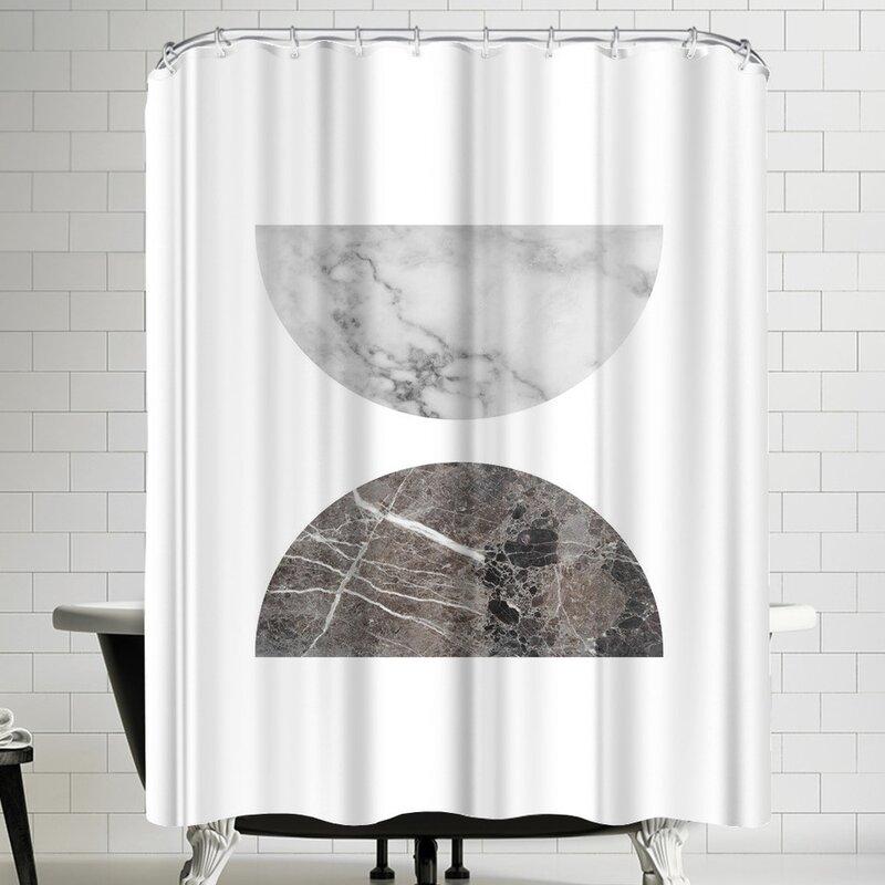 East Urban Home Ikonolexi Geometric Marble Half Moon Circles Single Shower Curtain Wayfair