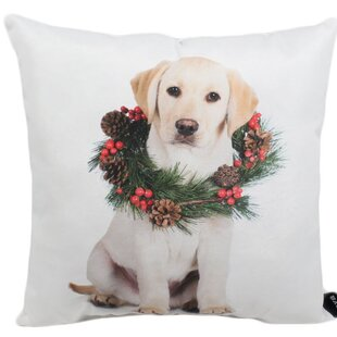 Lab Wreath Outdoor Throw Pillow