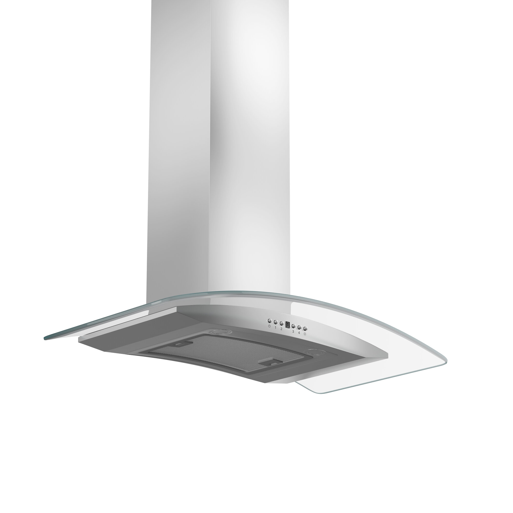 24 Stainless Steel Curved Tempered Glass Hood Vent Hood RV Kitchen 110V Electric Switch 3 Speed Motor RV Curved Glass Range Hood
