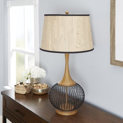 Mercer41 south molton ceramic 26 table lamp reviews wayfair rishi 23 table lamp with metal wire cage and faux wood shade greentooth Choice Image