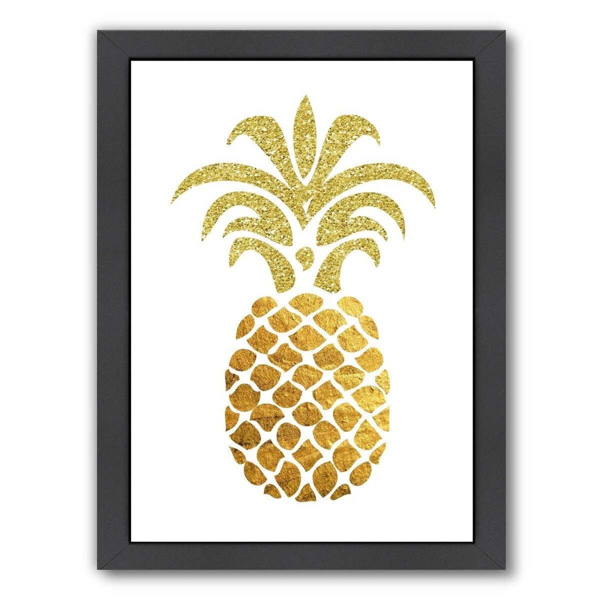 East Urban Home Pineapple 4 Framed Graphic Art In Gold And White Wayfair