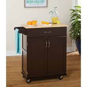 Jefferson Kitchen Cart with Wood Top