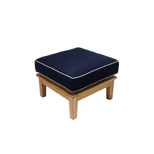 Hankins Outdoor Teak Ottoman with Cushion
