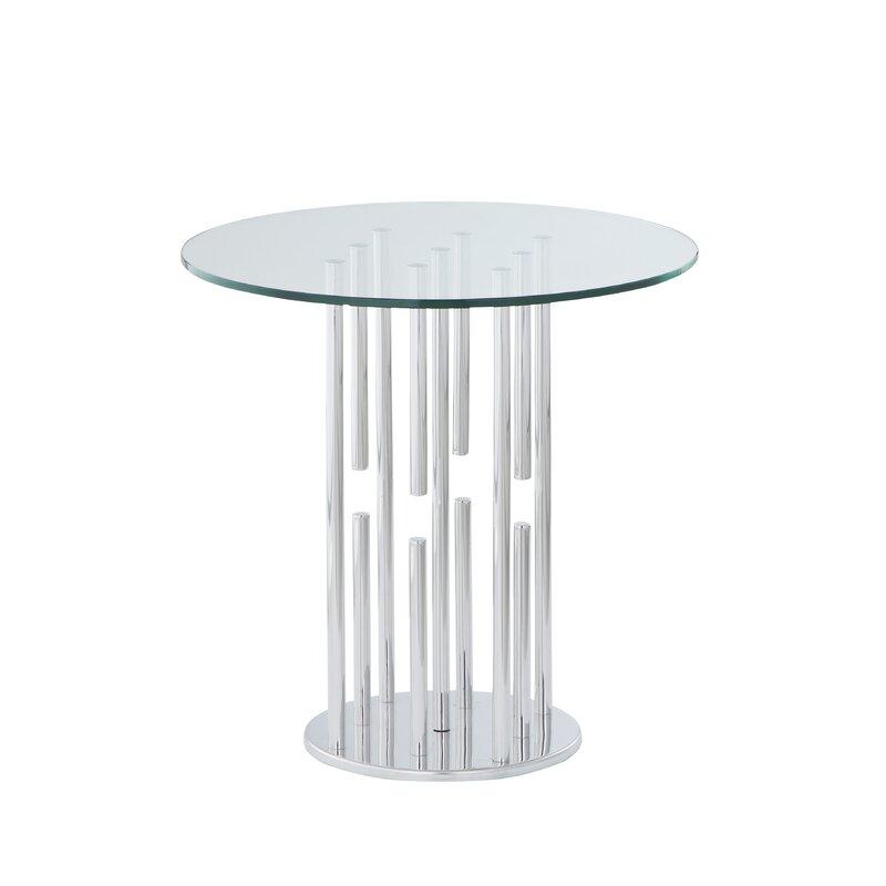 Orren Ellis Ashburt Glass Top End Table Wayfair