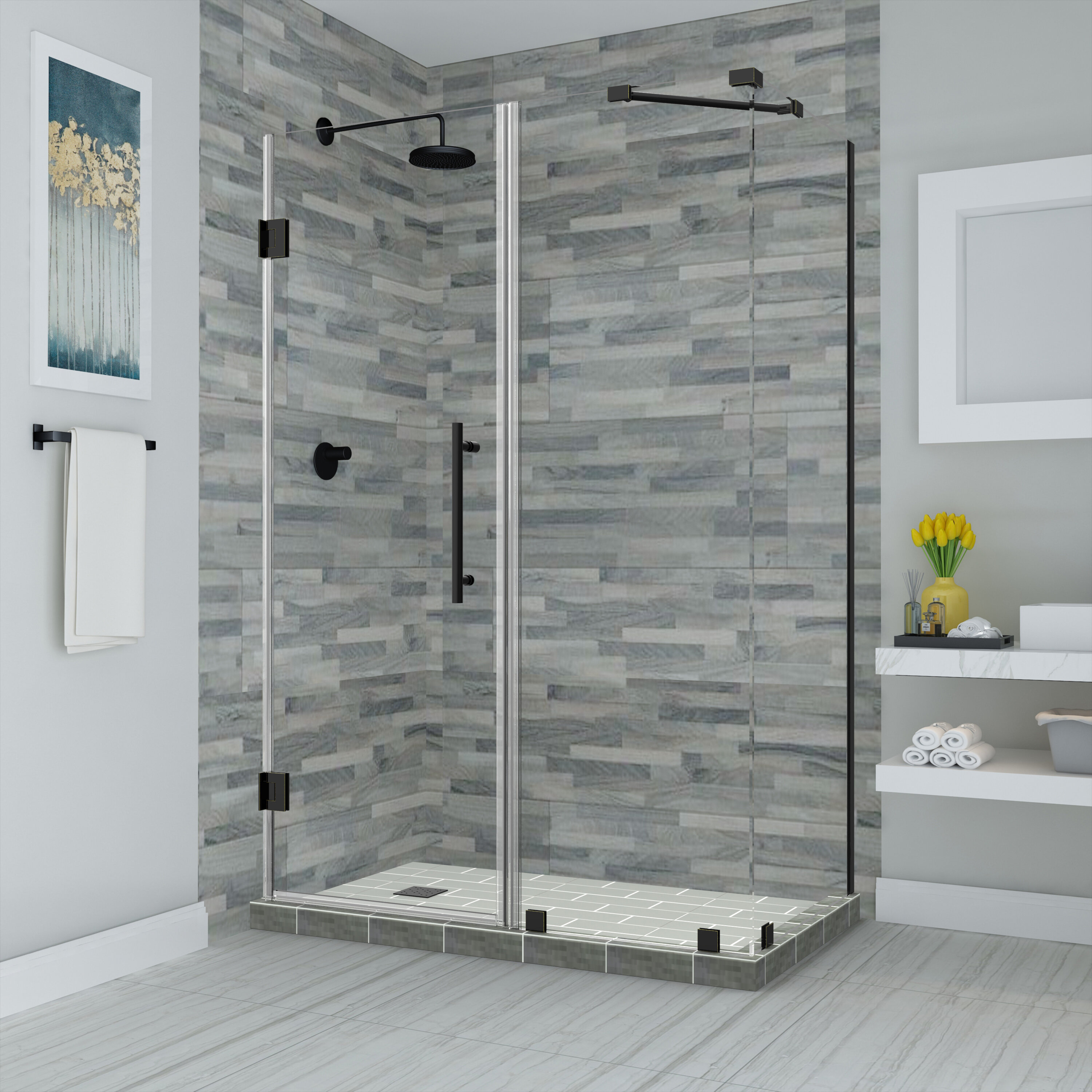 Bromley 45 25 In To 46 25 In X 34 375 In X 72 In Frameless Corner Hinged Shower Enclosure In Matte Black