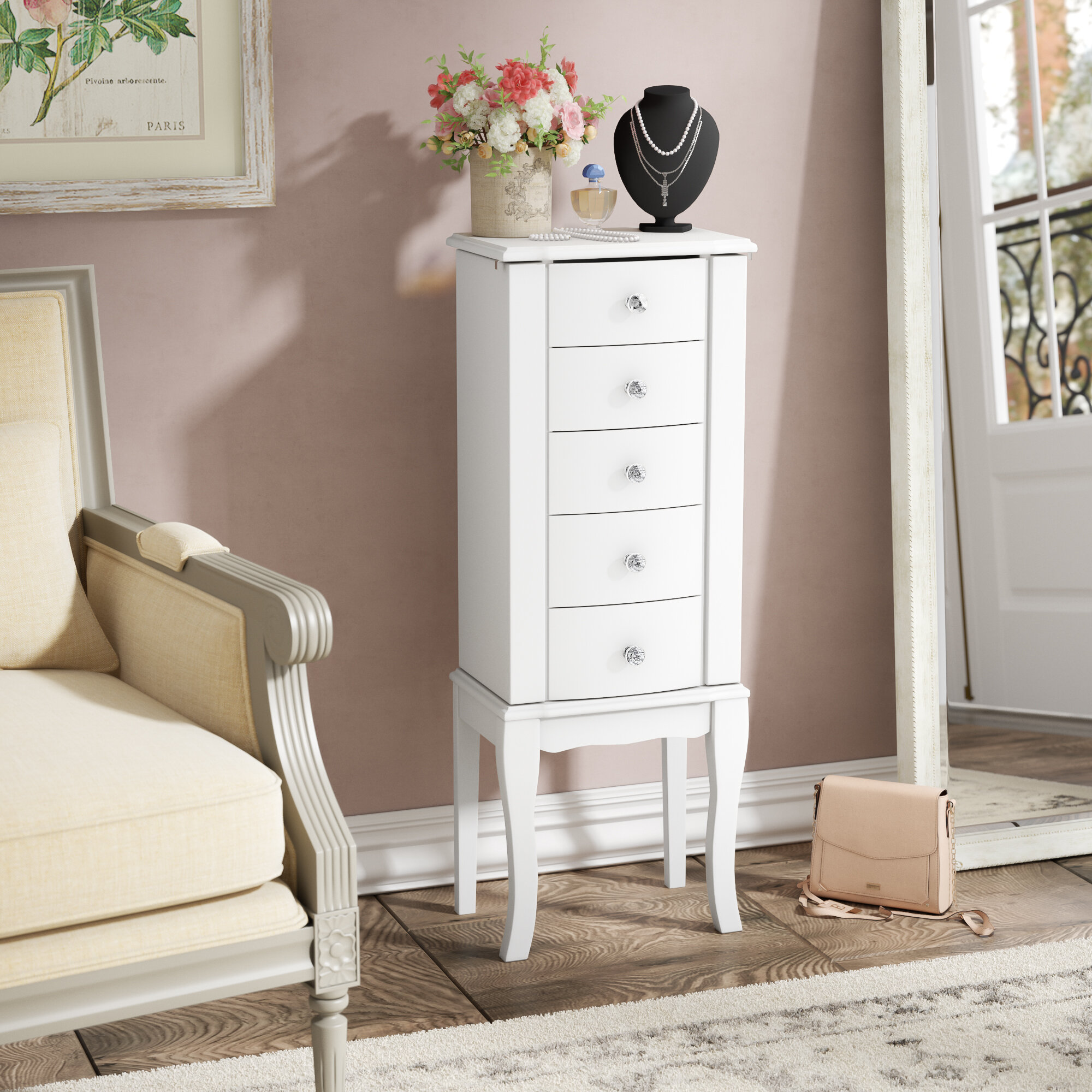 Ordinaire Zariah White Jewelry Armoire