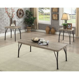Cherry Industrial Wooden Top 3 Piece Coffee Table Set