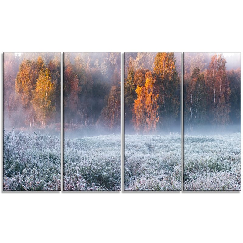 Designart Grey Hoarfrost Design By Winter 4 Piece Graphic Art On Wrapped Canvas Set Wayfair