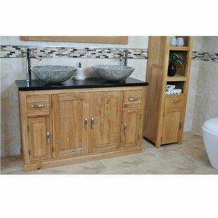 Decarlo Solid Oak 1230mm Free-Standing Vanity Unit By Belfry Bathroom