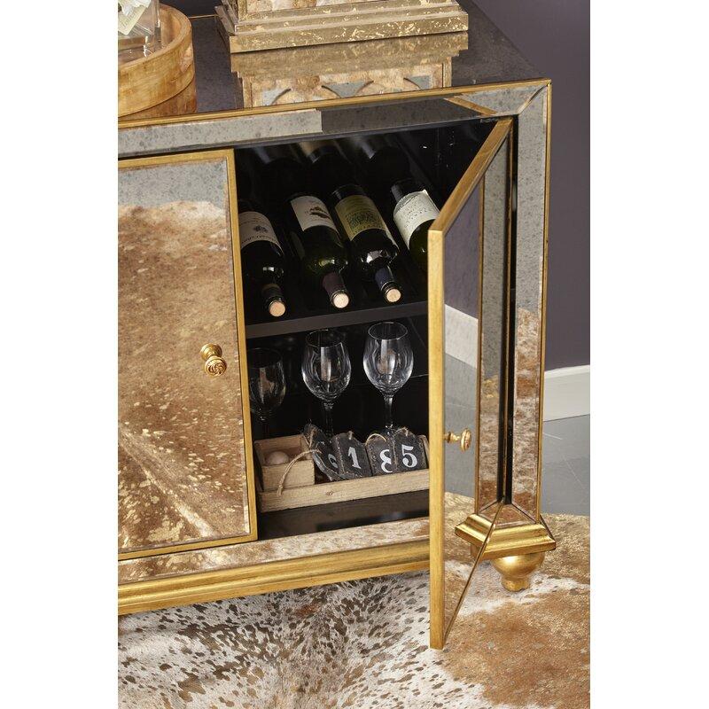 Malik Antique Mirrored 8 Bottle Floor Wine Cabinet - Rosdorf Park Malik Antique Mirrored 8 Bottle Floor Wine Cabinet