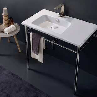 Find the perfect Ceramic 33'' Console Bathroom Sink with Overflow ByScarabeo by Nameeks