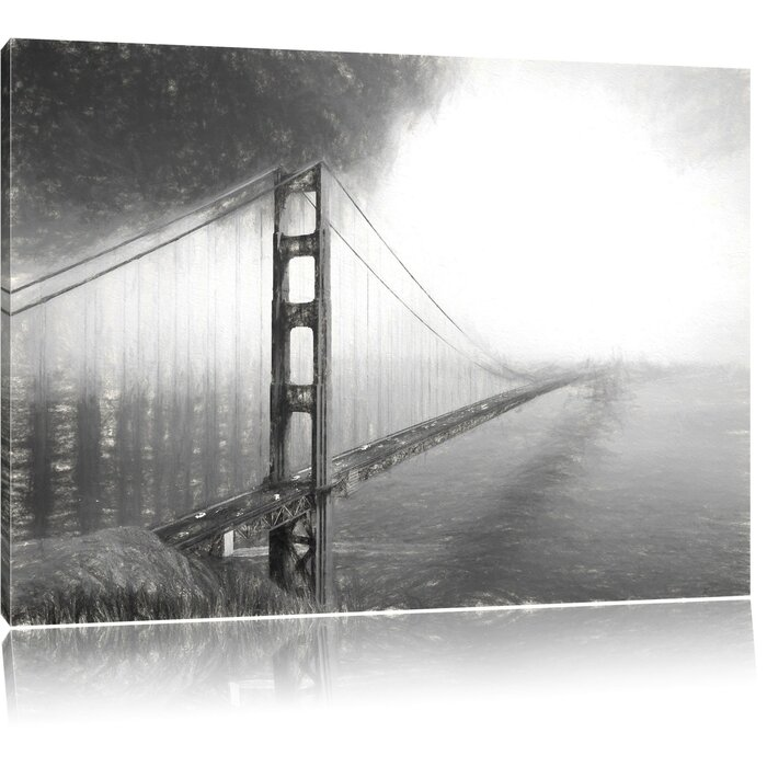 Golden Gate Bridge San Francisco Photographic Print On Canvas In Black White