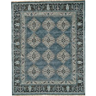 Flaxberry Hand-Knotted Dark Blue/Gray Area Rug by Astoria Grand