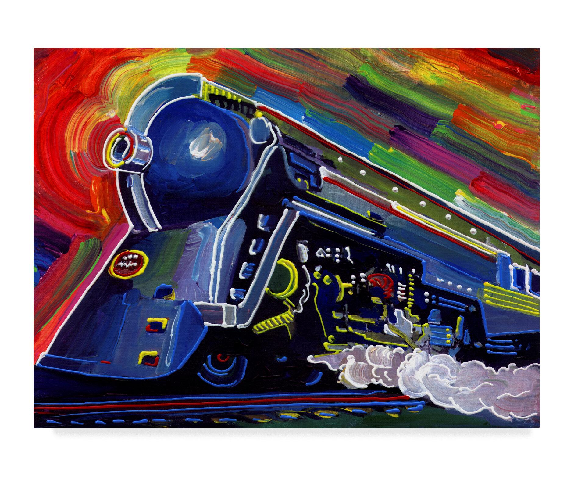 Trademark Art Pop Art Blue Train Print On Wrapped Canvas Wayfair