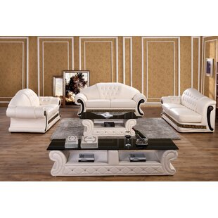 Everly Quinn Dequilla Leather 3 Piece Living Room Set