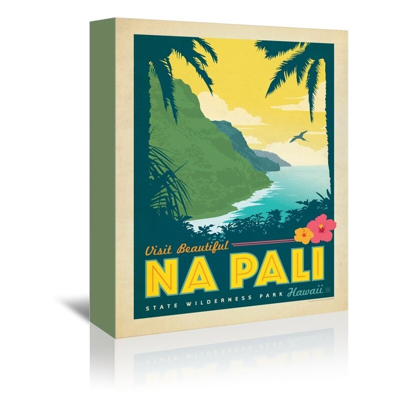 East Urban Home Hawaii Na Pali Vintage Advertisement On Wrapped Canvas Reviews Wayfair