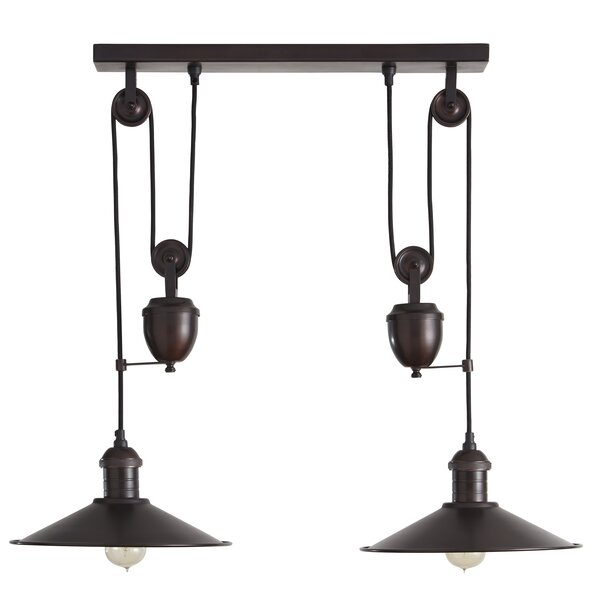 Lita 2-Light Kitchen Island Pendant by Gracie Oaks,  Fashioned after vintage inspired lighting, this Lita 2-Light Kitchen Island Pendant brings antique flair to modern day style. It's bronze finished pulley design elevates an industrial space.  Product Details  Product Warranty: 1 Year Product Type: Kitchen island pendant Number of Lights: 2 Replaceable Bulb Included: No Wattage: 60 Material: Metal Shade Material: Metal