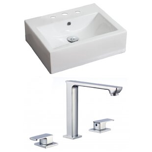 Best Price Ceramic 20 Wall Mount Bathroom Sink with Faucet and Overflow By American Imaginations