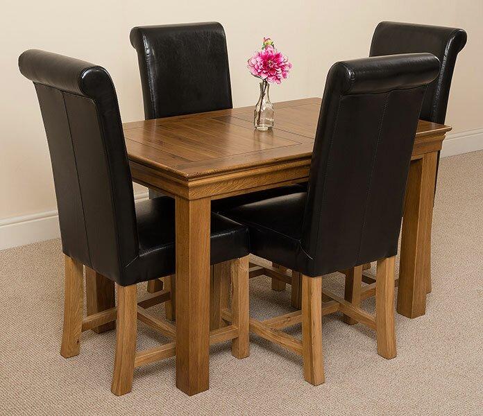 Carmela Solid Oak Dining Set with 4 Washington Chairs
