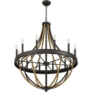 Laurel Foundry Modern Farmhouse Helga 12-Light Wagon Wheel Chandelier