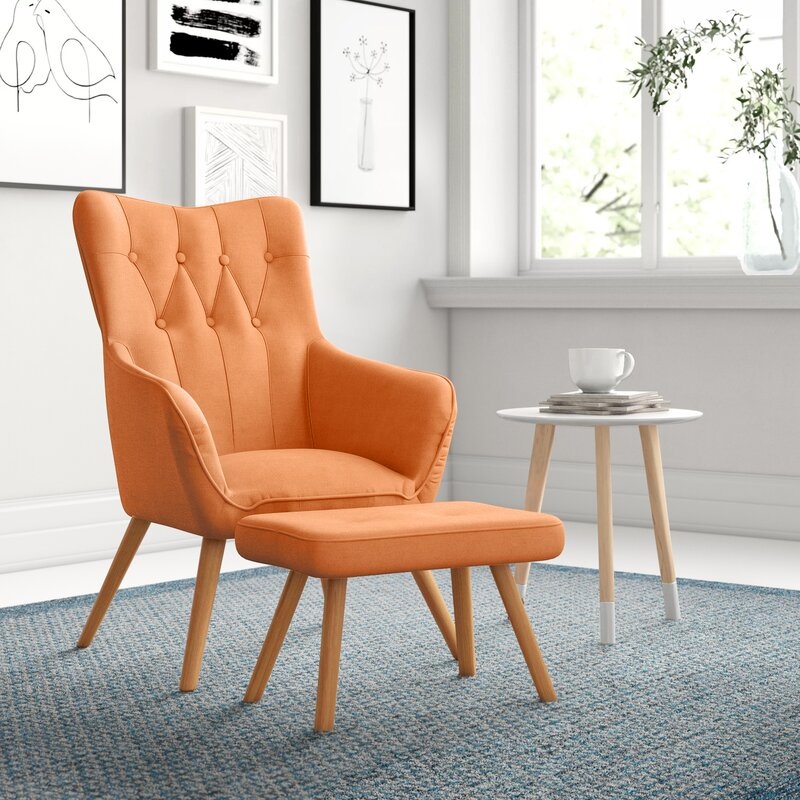 Georgia Wingback Chair and Footstool