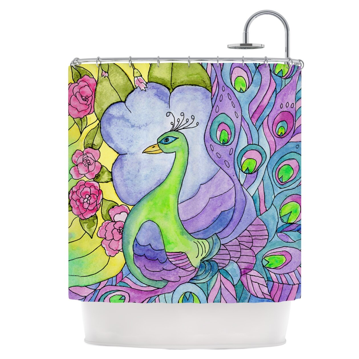East Urban Home Stained Glass Watercolor Peacock Shower Curtain