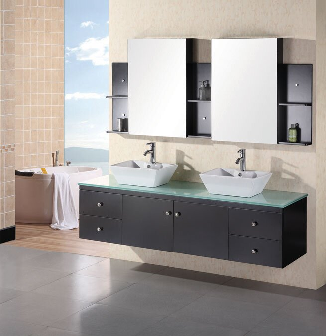 Brayden Studio Newcastle Floating Double Bathroom Vanity Set - 72 floating bathroom vanity