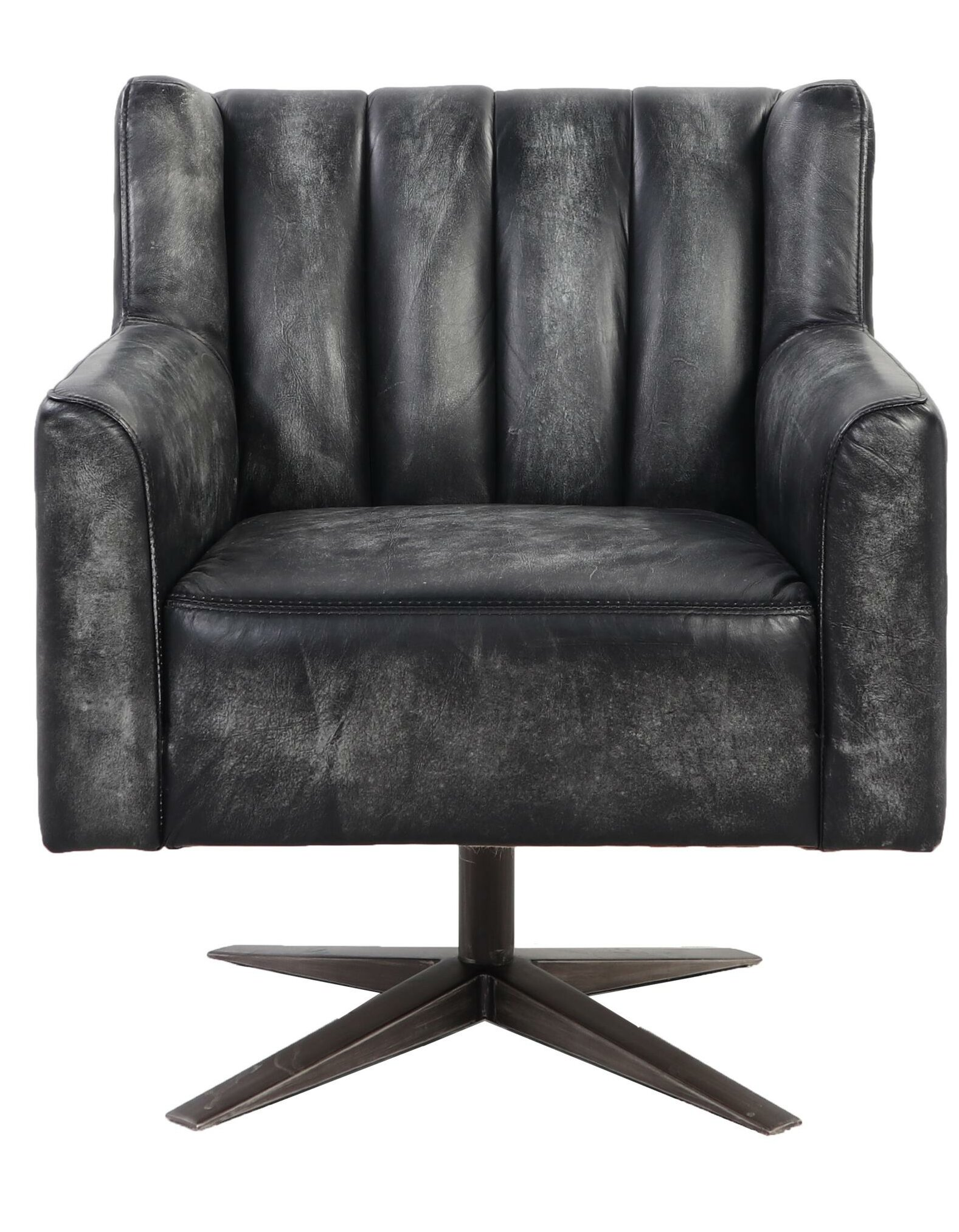 Picture of: 17 Stories Farnham 28 W Faux Leather Swivel Club Chair Wayfair