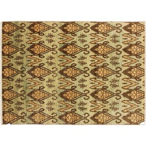 One-of-a-Kind Bellview Hand-Knotted Rectangle Wool Green Area Rug