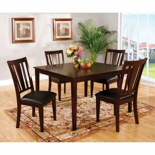 Megerle Transitional 5 Piece Solid Wood Dining Set