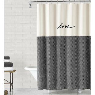 Words Love Cotton Single Shower Curtain