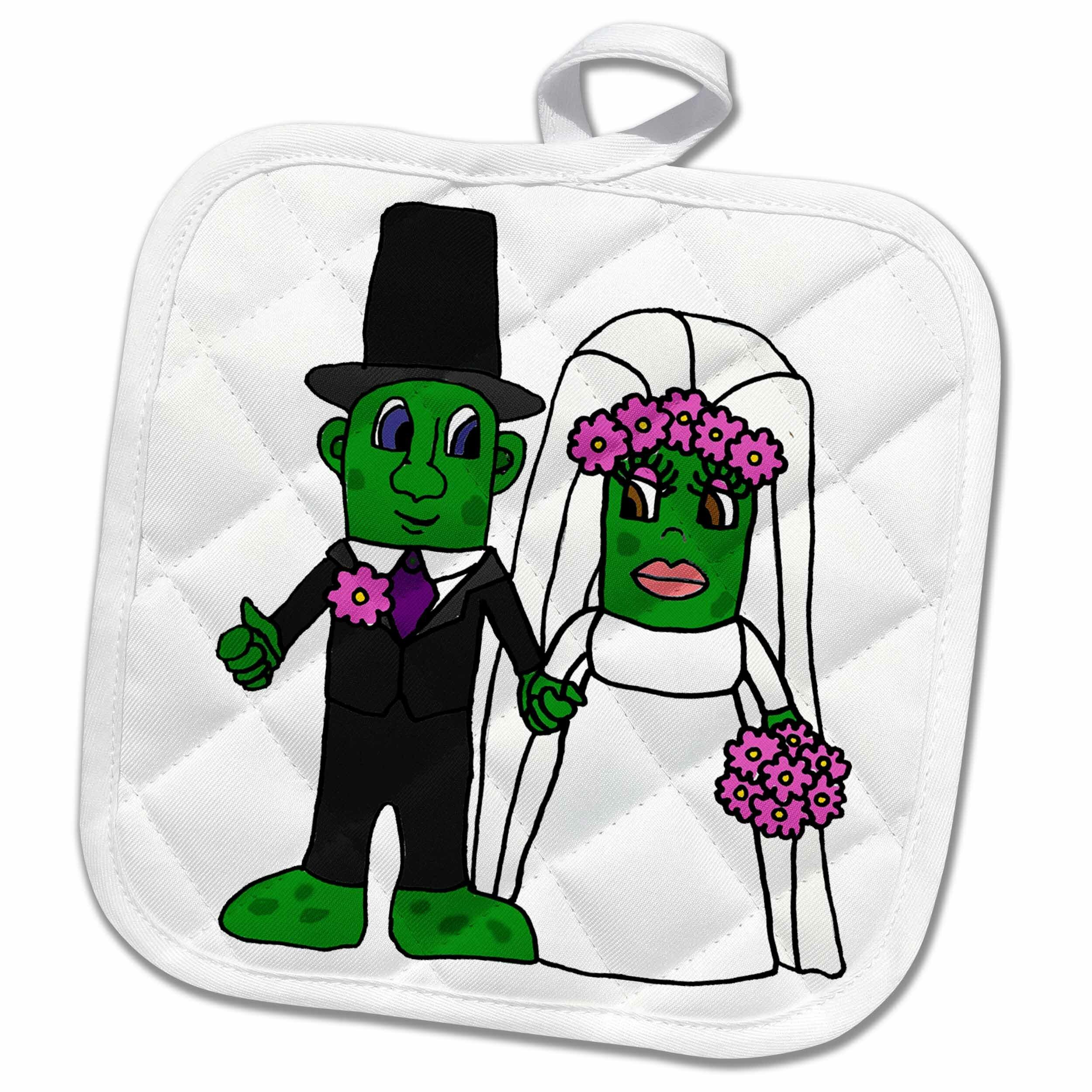 3drose Funny Bride And Groom Pickle Wedding Cartoon Potholder Wayfair