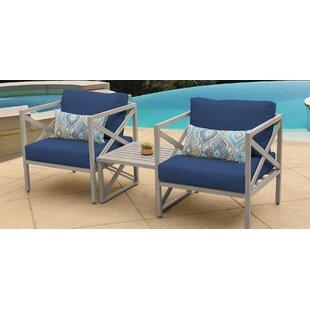 TK Classics Carlisle 3 Piece Outdoor Conversation Set with Cushions