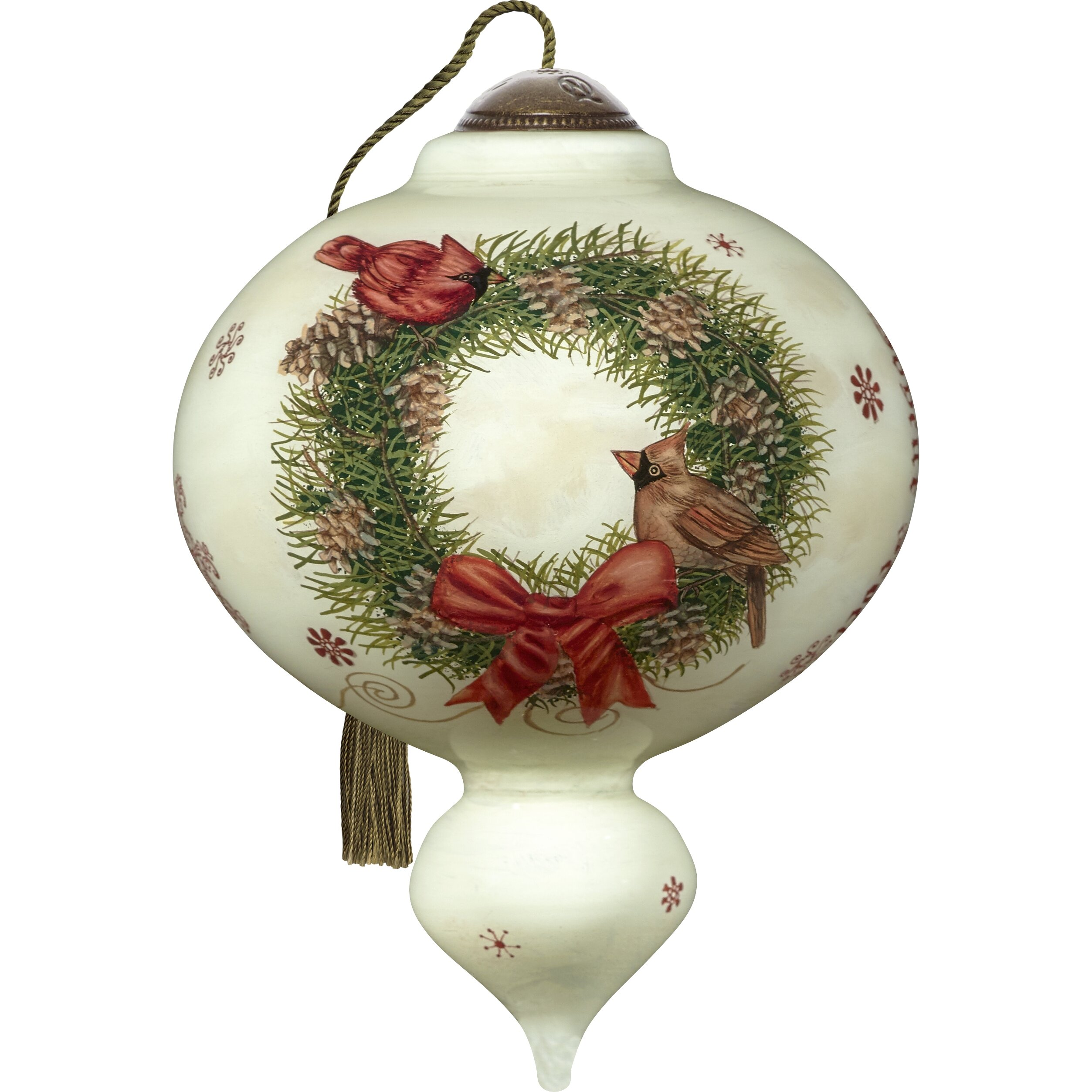 Precious Moments Ne Qwa Art Joyeux Noel With Christmas Wreath Standard Hand Painted Blown Glass Christmas Holiday Shaped Ornament Wayfair
