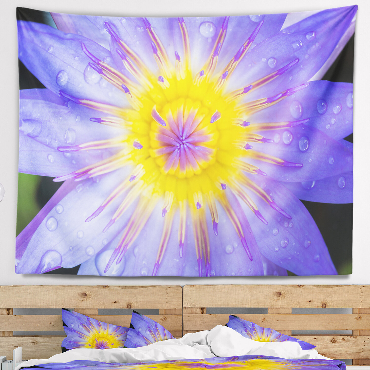 East Urban Home Blooming Violet Lotus Close up Tapestry and Wall ...