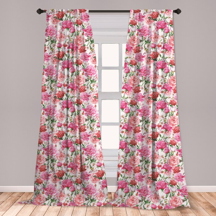 Ambesonne Watercolor Curtains, Pink Peonies And Roses Green Leaves Exotic  Gentle Bouquet Bridal Wedding Theme, Window Treatments 2 Panel Set For ...