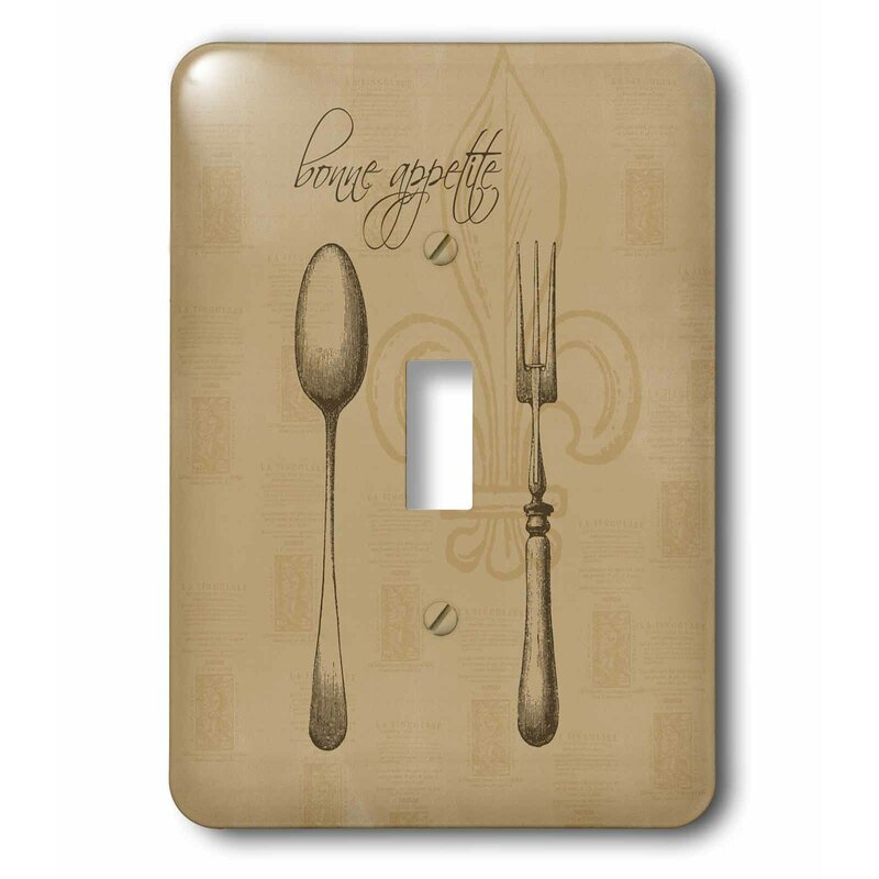 3drose Fleur De Lis Bonne Appetite Fork And Spoon Kitchen Art 1 Gang Toggle Light Switch Wall Plate Wayfair
