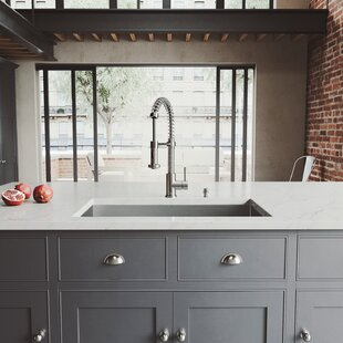 32 L x 19 W Undermount Kitchen Sink with Faucet, Grid, Strainer and Soap Dispenser ByVIGO