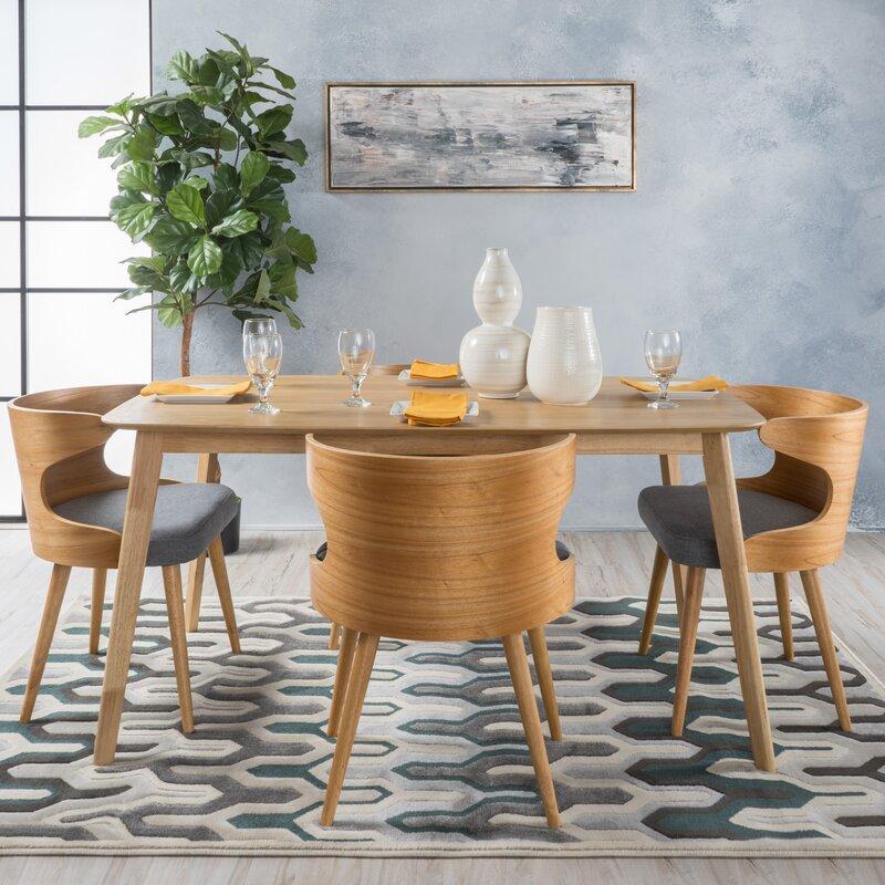 camille 5 piece wood mid century dining set