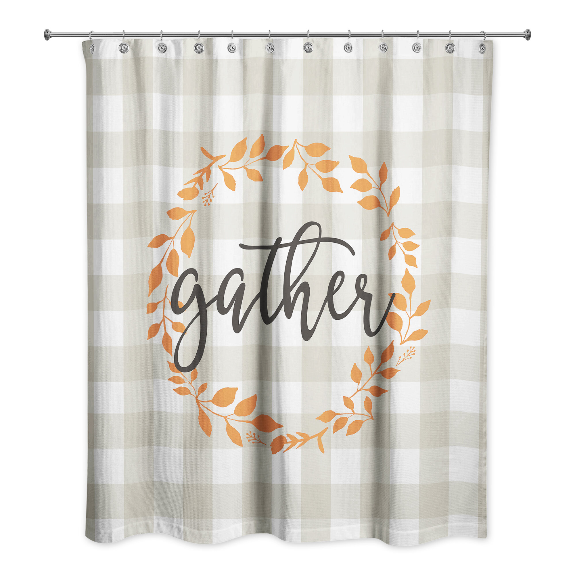 Gracie Oaks Valenti Gather Buffalo Check Shower Curtain