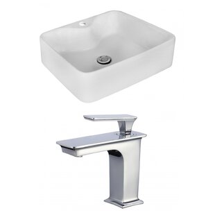 Affordable Above Counter Ceramic Rectangular Vessel Bathroom Sink with Faucet By Royal Purple Bath Kitchen